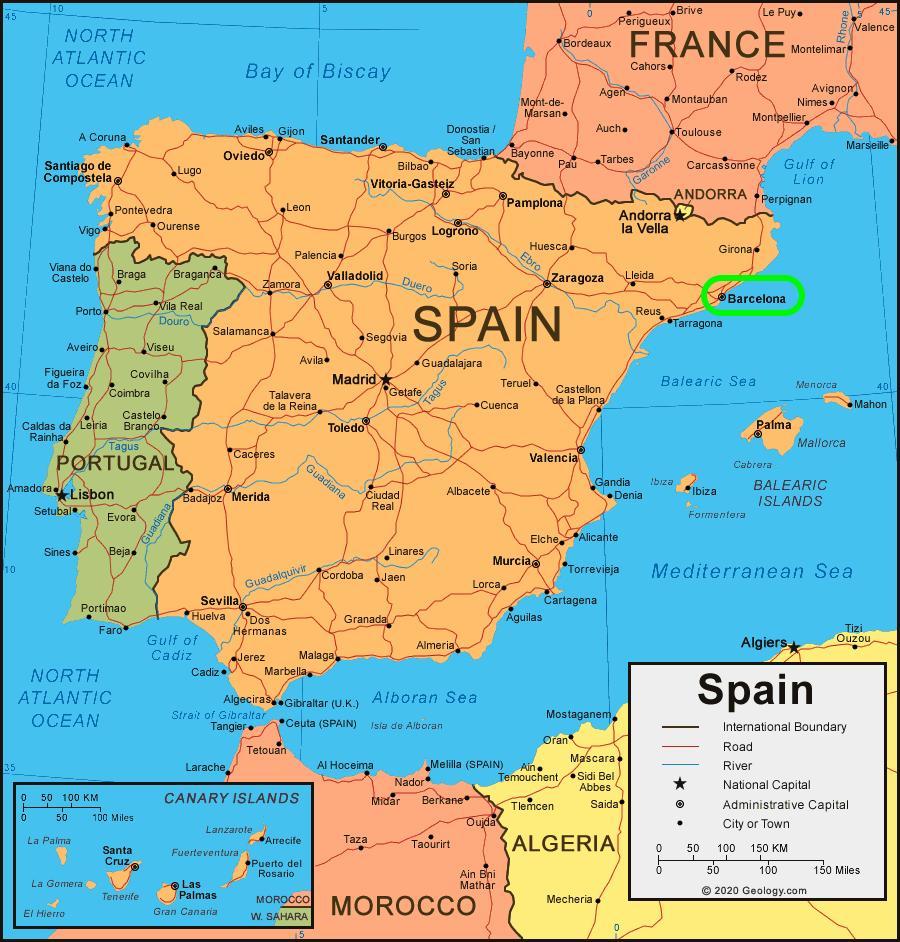 Barcelona Spanien Kort Kort Over Spanien Og Barcelona