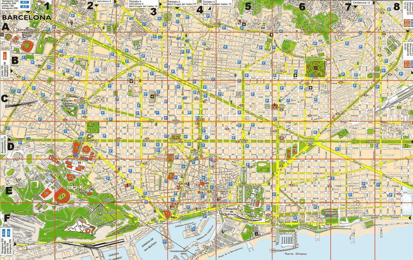 Detaljeret Kort Over Barcelona Gratis Kort Over Barcelona