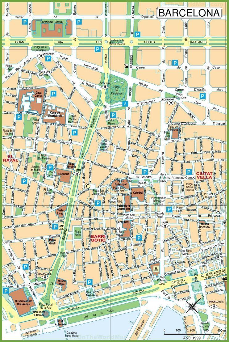Kort Over Centrum Af Barcelona Kort Over Barcelona Centrum Gader