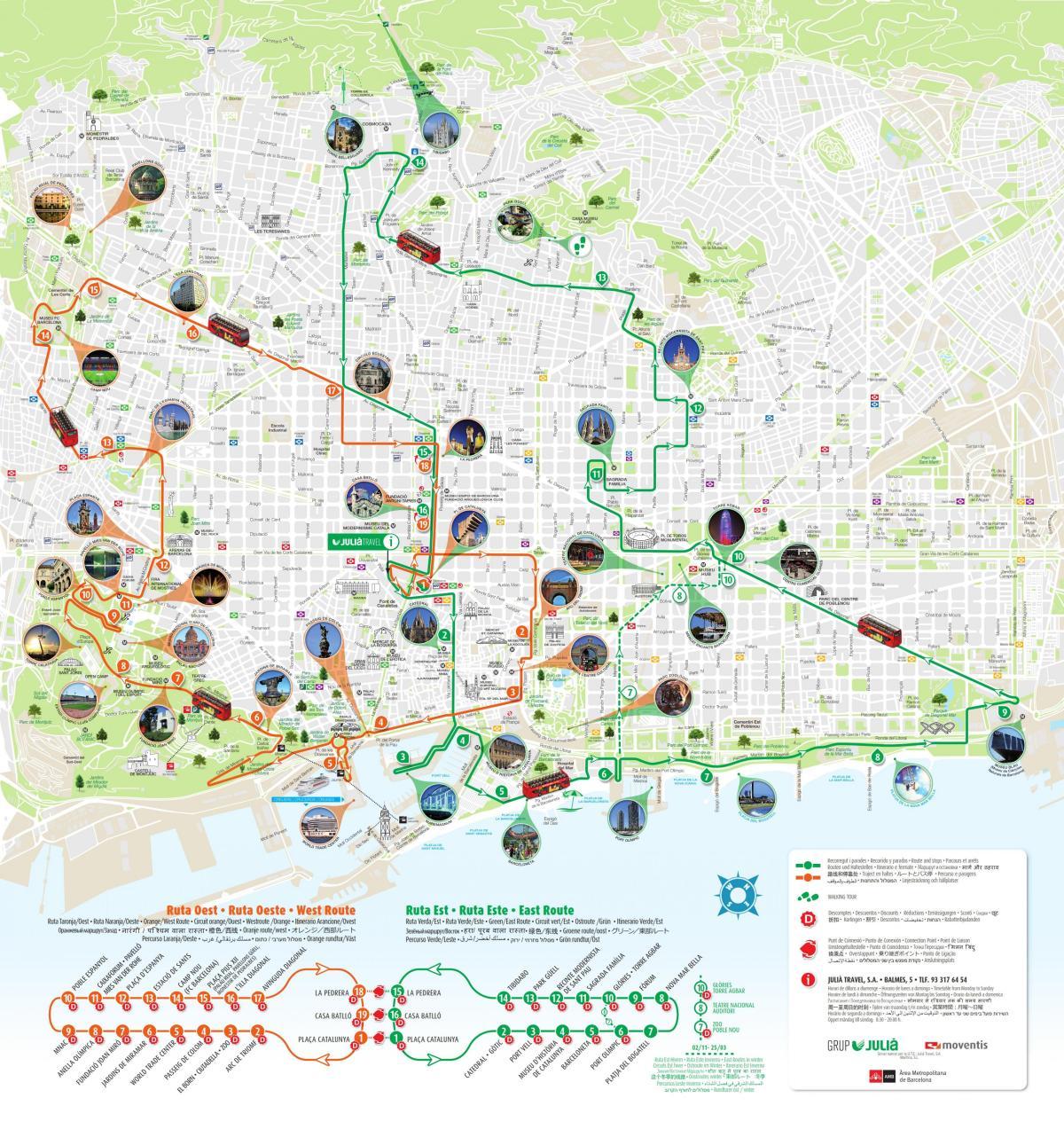 Barcelona Turist Kort Kort Over Barcelona Sevaerdigheder