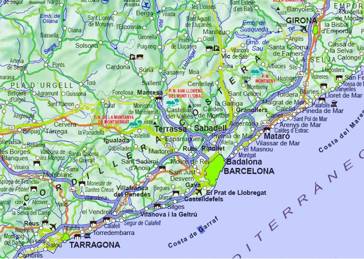 Kort Over Barcelona Og Omegn Kort Over Barcelona Spanien Og Det